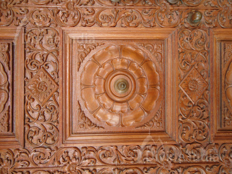 Wood Design Door At Lakshmi Vinayak Mandir, Chattarpur Temple